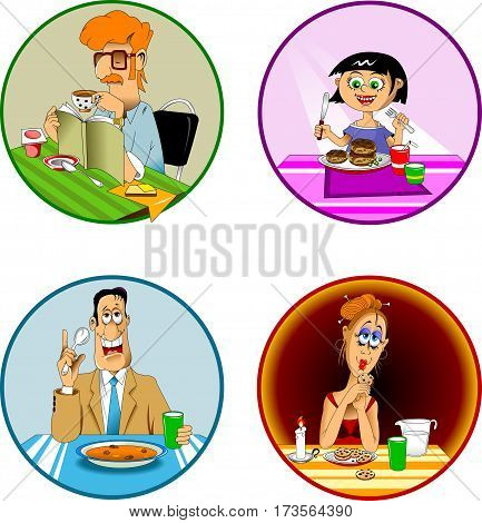 collection of meals and snacks and vector illustration