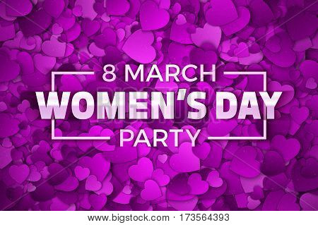 Happy Women's Day Party Vector Illustration. Typographic Design Text. Abstract Purple and Violet 3D Hearts Dense Structure Pattern with Subtle Texture
