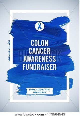 COLORECTAL Cancer Awareness Creative Grey and Blue Poster. Brush Stroke and Silk Ribbon Symbol. World Colon Cancer Awareness Month Banner. Blue stroke and text. Medical Design.