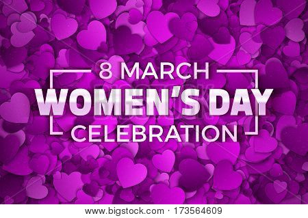 Happy Women's Day Celebration Vector Illustration. Typographic Design Text. Abstract Purple and Violet 3D Hearts Dense Structure Pattern with Subtle Texture