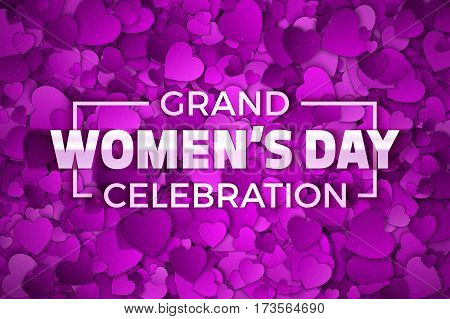 Happy Women's Day Grand Celebration Vector Illustration. Typographic Design Text. Abstract Purple and Violet 3D Hearts Dense Structure Pattern with Subtle Texture