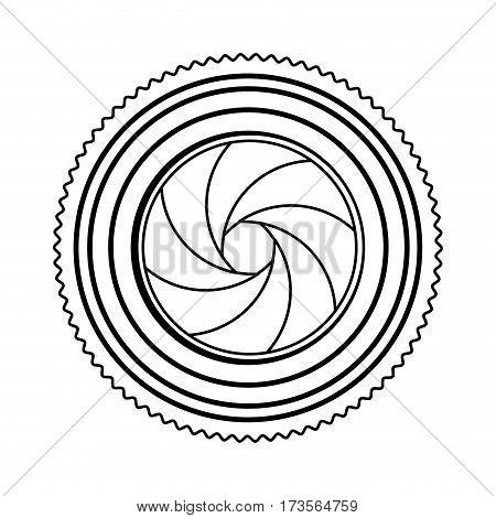 monochrome contour of analog camera lens vector illustration