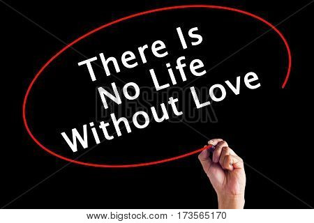 Hand Writing There Is No Life Without Love With A Marker Over Transparent Board
