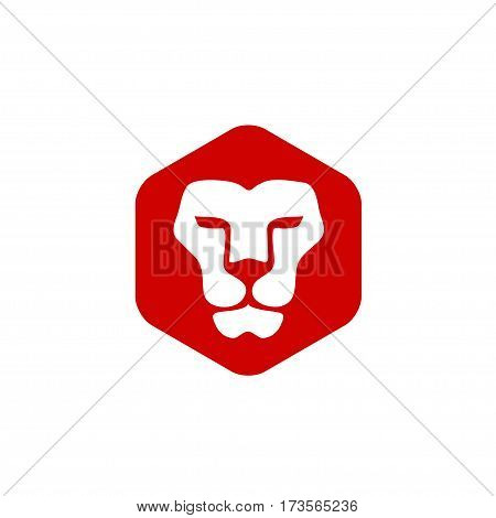 Lion head hexagon vector- vector sign concept illustration. Lion head logo. Wild lion head graphic illustration. Design element.