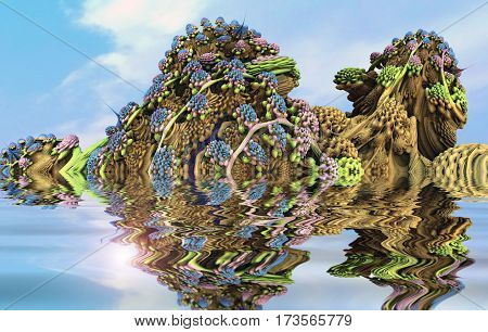 3D illustration of virtual scenery with hills of flowering plants reflected in water
