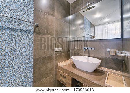 Russia, Moscow - modern designer renovation in a luxury building. Stylish bathroom interior