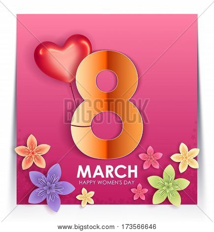 8 March holiday. Origami Greeting card with paper Flowers and balloon in the shape of heart. International Happy Women's Day. Vector eps10
