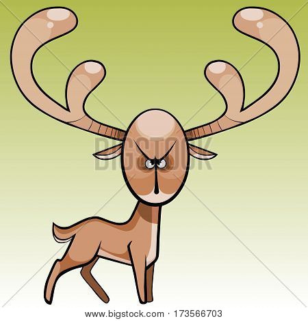 cartoon funny terrible and angry animal deer