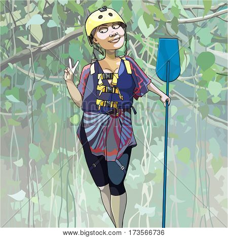cartoon happy woman in a helmet stands with a paddle in the jungle
