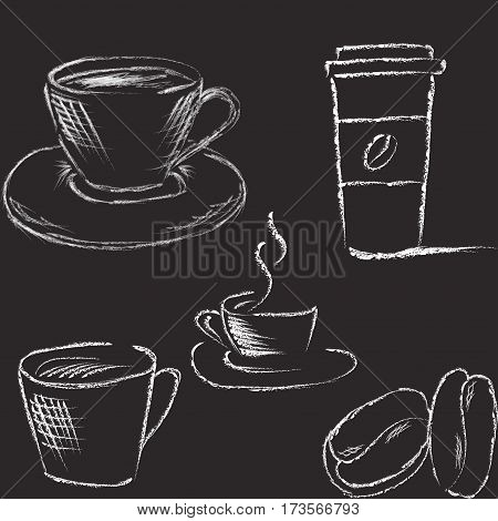 Hand drawn coffee illustration immitated charcoal style
