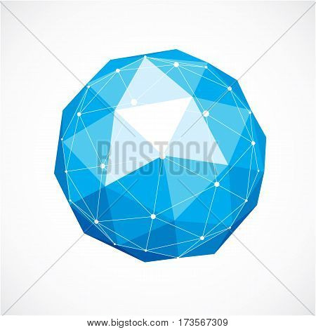 3D Vector Low Poly Spherical Object With White Connected Lines And Dots, Geometric Blue Wireframe Sh