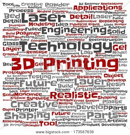 Concept or conceptual 3D printing creative laser technology square word cloud isolated on background