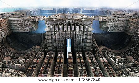 3D illustration of virtual scene with decayed city of ghosts