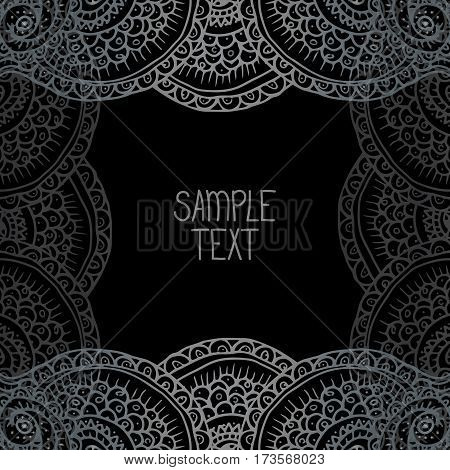 Ethnic tribal abstract background pattern square frame in vector with place for your text. Can be used for banner, card, poster, label or web design