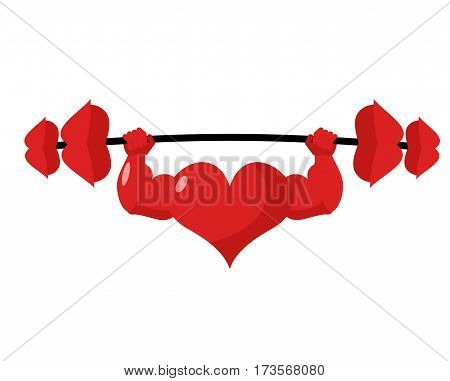 Heart Strong. Love Powerful. Sport Barbell Kiss. Heavy Lips.