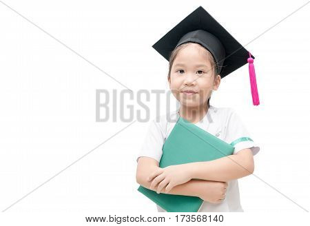 Asian school kid graduate with graduation cap and raduation certificate isolated on white background