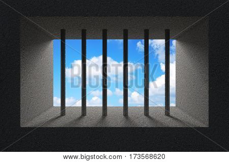 Sky Seen Through Jail Bars in Prison Window extreme closeup. 3d Rendering.