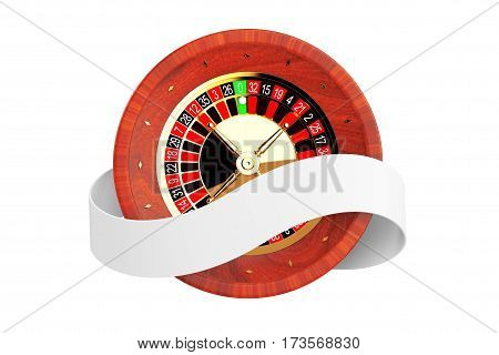 Casino Roulette Wheel with Ribbon Banner on a white background. 3d Rendering.