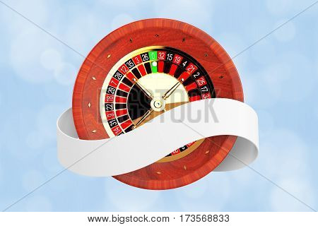 Casino Roulette Wheel with Ribbon Banner on a blue background. 3d Rendering.