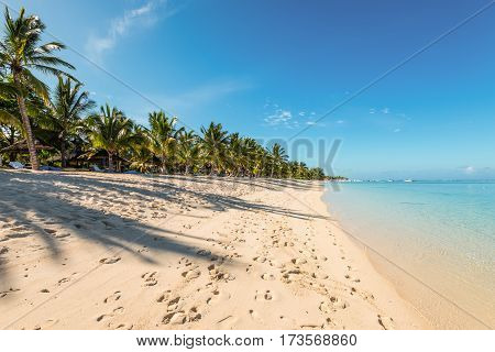 Le Morne Mauritius - December 11 2015: People are relaxing on the tropical beach with coconut palms one of the finest beaches in Mauritius. Shadow on sand.
