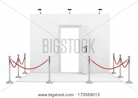 Barrier Rope Around Trade Show Booth with White Opened Door on a white background. 3d Rendering.