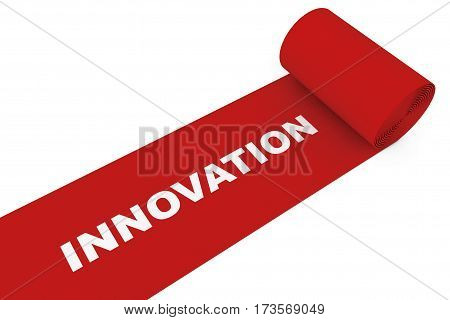 Unrolled Red Carpet with Innovation Sign on a white background. 3d Rendering.