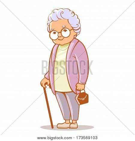 Portrait of cute old woman with bag and  walking stick. Grandmother wearing glasses, with short grey hair. Senior lady on walk. Grandma. Vector illustration.
