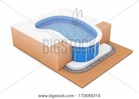 In - Ground Blue Outdoor Swimming Water Pool with Ladder Construction Plan on a white background. 3d Rendering.