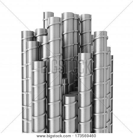 Metal Reinforcement Steel Rebars on a white background. 3d Rendering.
