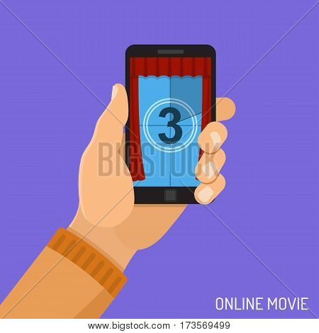 Concept online movie, man holding smartphone vertically in hand with countdown on screen, isolated vector flat icon illustration