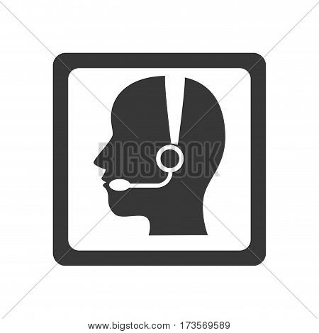 monochrome square button with call center operator with handset vector illustration