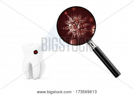 Bacterias and Viruses on a Tooth Seens Through Magnifying Glass on a white background. 3d Rendering.