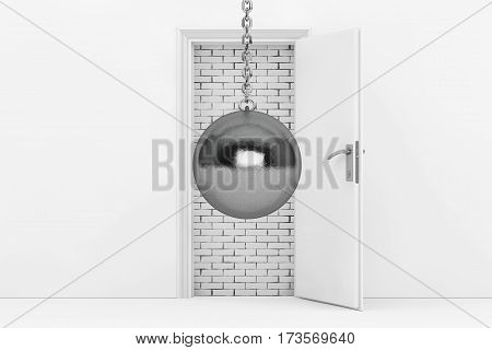 Wrecking Ball Ready to Destroy Brick Wall with Blocked White Opened Door extreme closeup. 3d Rendering.