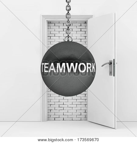 Wrecking Ball with Teamwork Sign Ready to Destroy Brick Wall wich Blocked White Opened Door extreme closeup. 3d Rendering.
