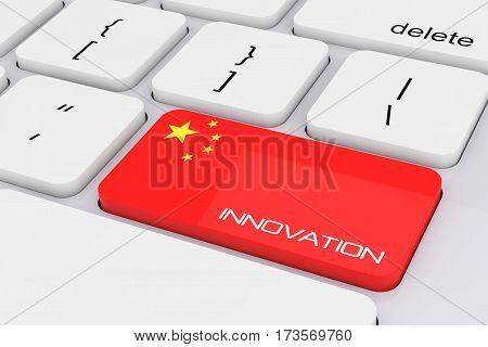 Computer Keyboard Key with China Flag and Innovation Sign extreme closeup. 3d Rendering.