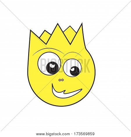 Cartoon character. Yellow muzzle. Two eyes . Cute smile Vektor illustration
