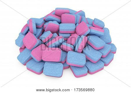 Closeup Heap of Dishwasher Tablets on a white background. 3d Rendering.