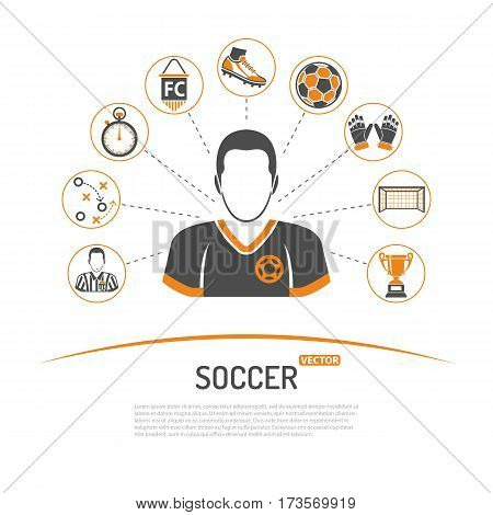 soccer concept with two color Icons Set like football player, ball, award and referee. Isolated vector illustration