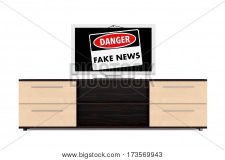 Fake News Danger Sign over TV Screen on a white background. 3d Rendering.
