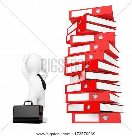 3d Businessman Stressed near Stack of Red Achive Office Binders on a white background. 3d Rendering.
