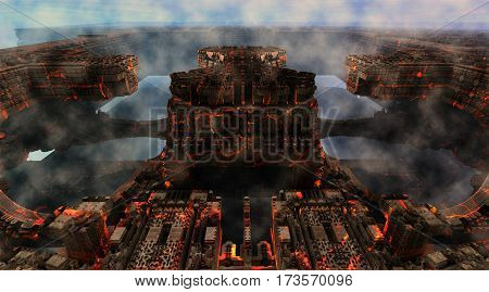 3D illustration of virtual scenery with decayed urban architecture