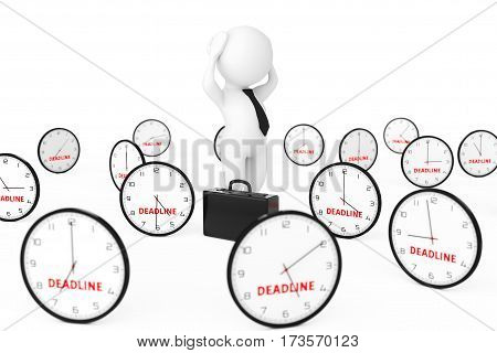 3d Businessman Stressed in centre of Many Clock with Deadline Sign on a white background. 3d Rendering.