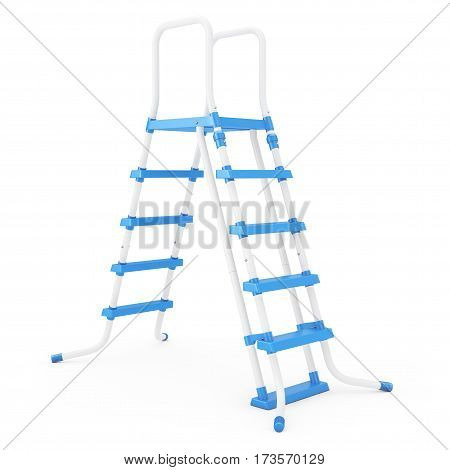 Plastick Outdoor Swimming Pool Ladder on a white background. 3d Rendering.