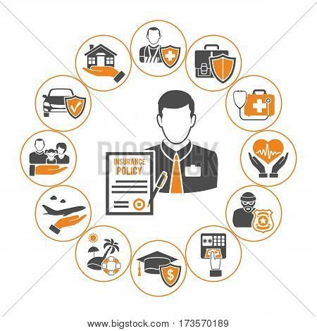Insurance Services Concept in Flat two color style icons such as policy, House, Car, Medical, Family and insurance agent, isolated vector illustration