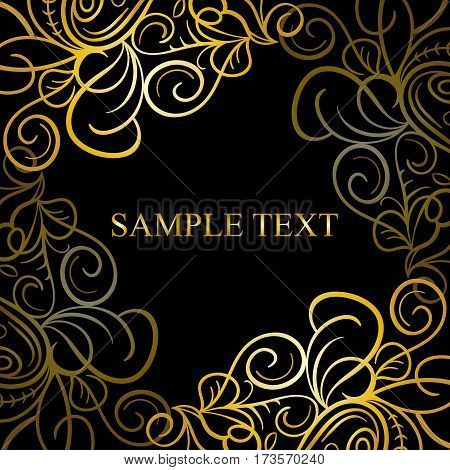 Abstract calligraphic retro luxury swirl corner frame with place for text. Can be used for banner, card, poster, label, page decoration or web design
