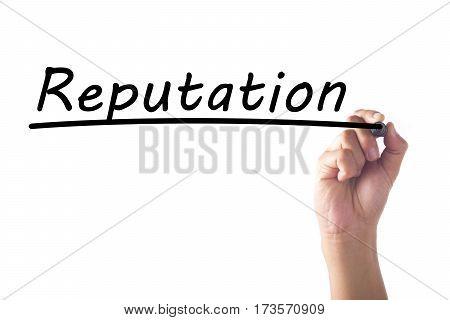 Hand Writing Reputation Word On Transparent Board
