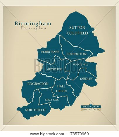 Modern City Map - Birmingham With Labelled Boroughs Illustration