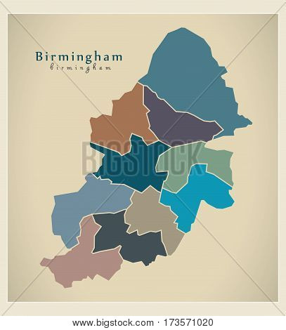 Modern City Map - Birmingham With Boroughs Coloured England Illustration