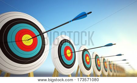 Arrows hitting the centers of targets - success business concept. 3d render