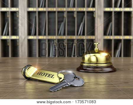 Hotel key and reception bell on reception desk - 3d render